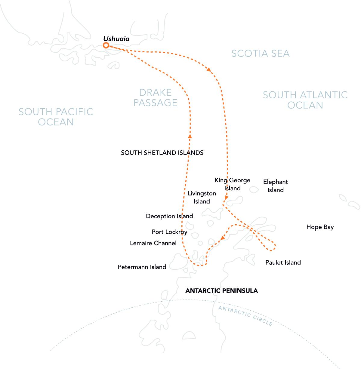 PL Route Map Christmas in Antarctica
