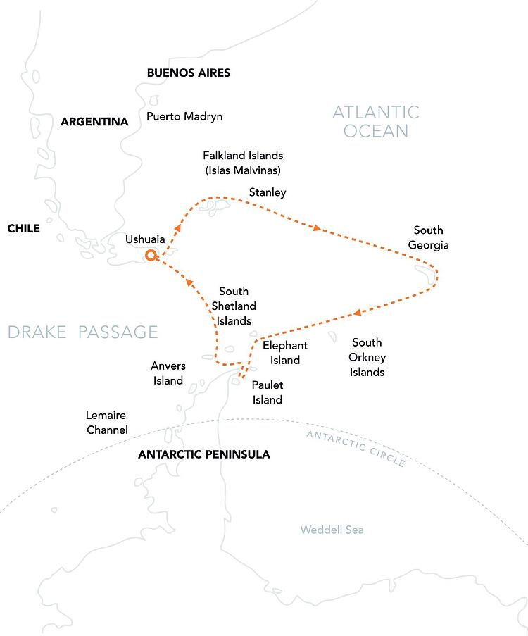 PL Route Map FSG from Ushuaia